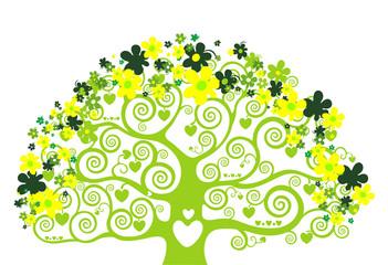 Illustration design with green tree