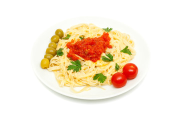 pasta with cheese and sauce of peppers, tomatoes and garlic