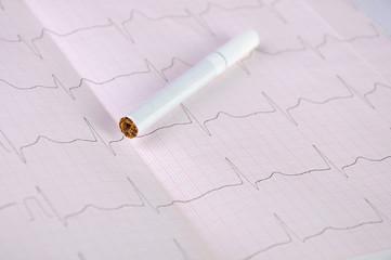 Cigarette and cardiogram