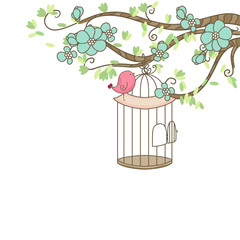 Deurstickers Vogels in kooien bird and birdcage