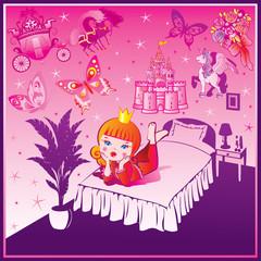 Door stickers Castle Dream Princess. Fairy-tale. Vector art-illustration.