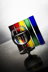 Colorful glasses red green yellow transparent