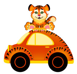 cartoon car and tiger