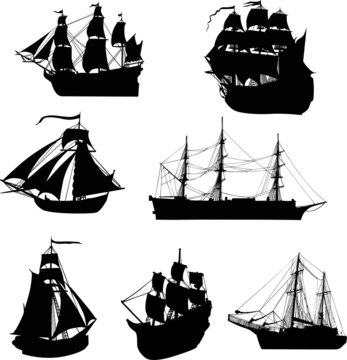 set of seven ship silhouettes