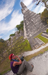 Female hiker at the Unesco World Heritage site Tikal