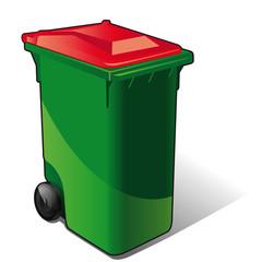 poubelle de tri sélectif rouhe - pet, plastiques