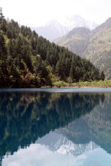 Landscape mountains reflected in blue lake