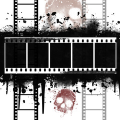 Grunge Filmstrip with skull