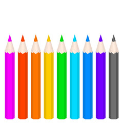 Multicolored Vector Pencils on White Background