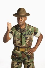 A Military Man Giving Orders