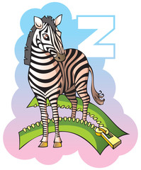 Children alphabet: letter Z, zebra and zipper, vector