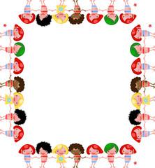 vector chidren frame banner border happy kids