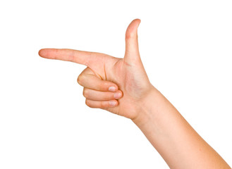 Hand pointing to left