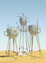 Obraz Surrealistic tea cups - fototapety do salonu