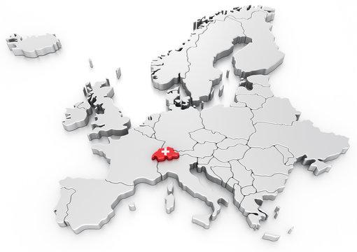 Switzerland on a Euro map