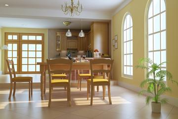 3d render classic luxury dining room