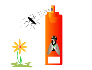 Insecticide insects and repellent, white place for text, vector