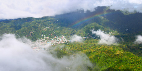 View of Soufriere from summit of Petit Piton (St Lucia)
