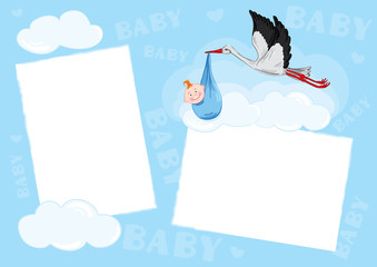 Template - photo frame for baby (boy)