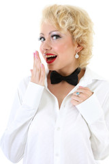 picture of surprised woman in white shirt and bow-tie