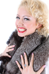 picture of surprised woman with fur collar