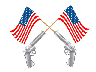USA FLAG AND GUNS
