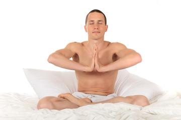 Male athlete fitness yoga