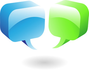 glossy green and blue speech bubbles