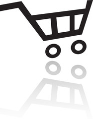Black shopping cart isolated on white