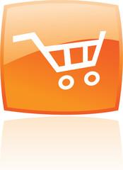 Glossy orange shopping cart isolated on white