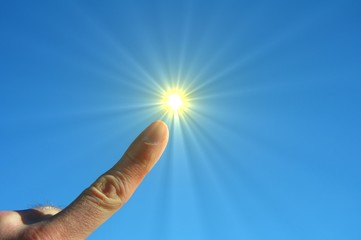 hand fingers sky and sun