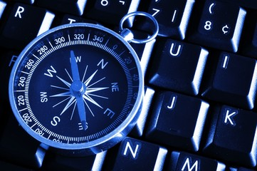 computer keyboard and compass