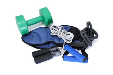 dumbbell and other exercise equipment