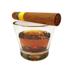 Glass with Havana cigar
