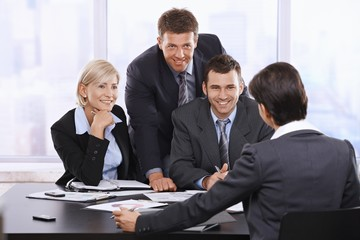 Smiling businesspeople