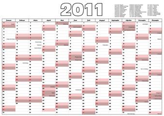 Wandkalender mit gesetzlichen Feiertagen Deutschland