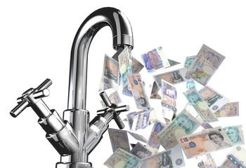rubinetto banconote sterline