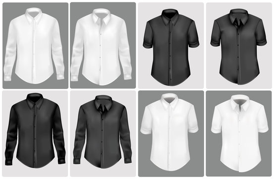 Black and white polo shirts. Photo-realistic vector.
