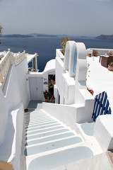 Santorini beautiful volcanic island in Greece landscape with blu