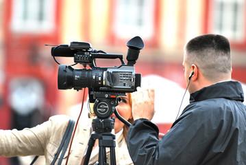 cameraman and reporter
