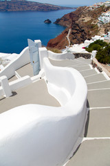Santorini beautiful volcanic island in Greece landscape with blu