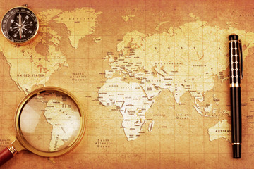 An Magnifier on a Treasure map background