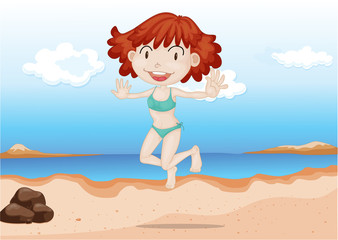 A Girl Dancing on Beach