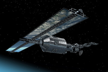 Telecommunication Satellite with solar panels reflecting Earth