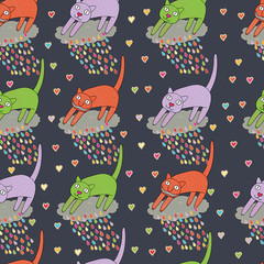 Abstract background with cats