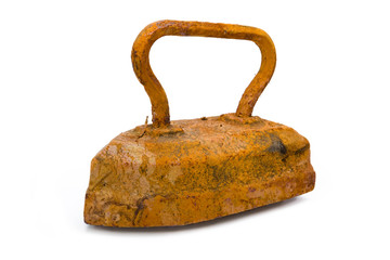 Old rusty pig-iron iron on white background