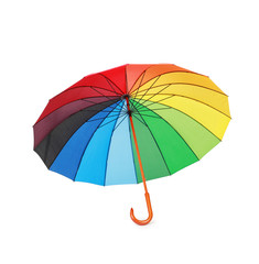 opened multicoloredd umbrella handle down isolated on white