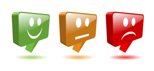 TRAFFIC LIGHT speech bubbles (buttons smileys survey opinion 3D)