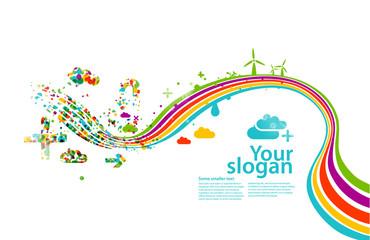 creative rainbow eco illustration