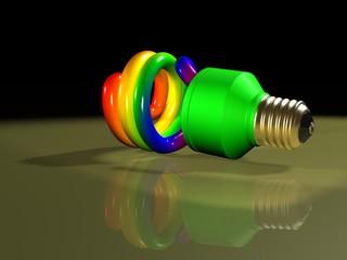 Rainbow compact fluorescent lamp scene